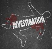 Investigation Crime Scene Chalk Outline Word — Stock Photo