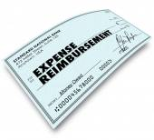 Expense Report Words on Check Reimbursement Payment — Stock Photo