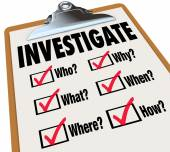 Investigate Basic Facts Questions Check List Investigation — Stock Photo