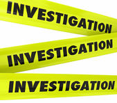 Investigation Word Yellow Crime Scene Police Tape — Stock Photo
