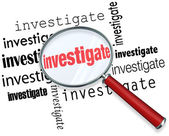 Investigate Word Magnifying Glass Close Inspection Facts — Stock Photo