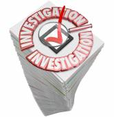 Investigation Paperwork Stack Pile Papers Forms Documents — Stock fotografie