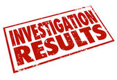 Invetigation Results Red Stamp Words Resarch Findings — Stock Photo