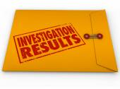 Investigation Results Yellow Envelope Research Findings Report — Stock Photo