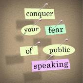Conquer Your Fear of Public Speaking Bulletin Board Overcome Sta — Stock Photo