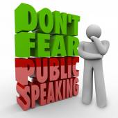 Don't Fear Public Speaking 3d Words Thinker Overcome Stage Frigh — Stock Photo