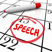 Speech Date Circled Calendar Important Speaking Engagement Remin — Foto Stock