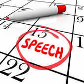 Speech Date Circled Calendar Important Speaking Engagement Remin — Stock Photo