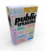 Public Speaking Words Product Package Box Training Help Advice — Stock Photo