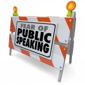 Fear of Public Speaking Words Barricade Barrier Speech Event — Stock Photo