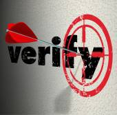 Verify Word Arrow Bulls Eye Target Confirm Certify — Stock Photo