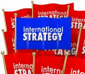 International Strategy Words Flags Global Policy Diplomacy — Foto Stock