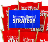 International Strategy Words Flags Global Policy Diplomacy — Stockfoto