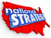 National Strategy 3d Words Unitest States America Map — Foto Stock