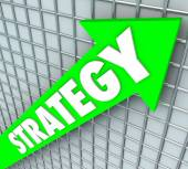 Strategy Word Green Arrow Rising Improve Increase Results — Foto Stock