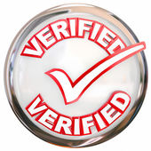 Verified Stamp Button Check Mark Inspected Certified — Stock Photo