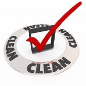 Clean Word Inspected Safe Check Mark Box Approval Seal — Stockfoto