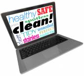 Clean Words Computer Laptop Screen Safe Website Virus Free — Stock Photo