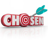 Chosen Word 3d Red Letters Selected Winner Arrow Target — Stock Photo