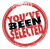 You've Been Selected Words Red Stamp Chosen Winner — Stock Photo