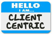 Client Centric Words Hello Name Tag Sticker — ストック写真