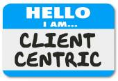 Client Centric Words Hello Name Tag Sticker — Foto Stock