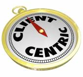 Client Centric Words Gold Compass Aiming Please Customers — Stock Photo