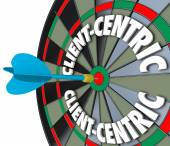 Client-Centric Words Dart Board Targeting Customer Service — Stockfoto