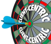 Client-Centric Words Dart Board Targeting Customer Service — Stock Photo