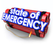 State of Emergency 3d Words Dynamite Bomb — Stockfoto
