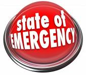 State of Emergency Red Flashing Light Button Warning Danger Cris — Stockfoto