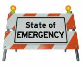 State of Emergency Words Road Construction Barricade Warning Sig — Stock Photo