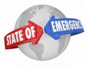 State of Emergency Arrows Around World International Global Cris — Foto de Stock