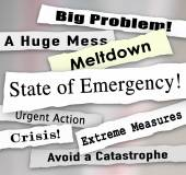 State of Emergency Newspaper Ripped Torn Headlines Urgent Action — Stock Photo