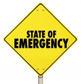 State of Emergency Yellow Warning Road Sign — Stock Photo