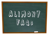 Alimony FAQs Frequently Asked Legal Questions Chalkboard — Foto Stock