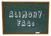 Alimony FAQs Frequently Asked Legal Questions Chalkboard — Stock Photo