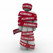 Alimony Man Wrapped in Red Tape — Stock Photo