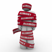 Alimony Man Wrapped in Red Tape — Foto de Stock