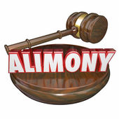 Alimony 3D Word Judge Gavel Legal Court Case Settlement — Stock Photo