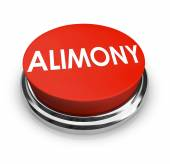 Alimony Word 3D Red Button Spousal Support Legal Help — Stockfoto
