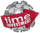 Time Investment Words Arrow Clocks Sphere Manage Resources — Stok fotoğraf