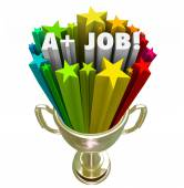 A Plus Job Words Gold Trophy Top Performance Award — Stock Photo