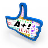 A Plus Grade Score Blue Thumb Up Symbol Review — Stock Photo