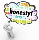 Honesty Sincerity Virtue Words Integrity Thinker Thought Cloud — Stock Photo
