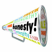 Honesty Sincerity Integrity Virtues Reputation Megaphone Bullhor — Stock Photo