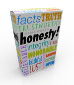 Honesty Sincerity Trustworthy Virtues Reputation Product Box — Stock Photo
