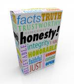 Honesty Sincerity Trustworthy Virtues Reputation Product Box — Stockfoto