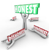 Honest Person Wins Vs Dishonest — Stock Photo
