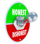 Honest Vs Dishonest Switch Turn On Sincerity Trust Truth — Foto Stock